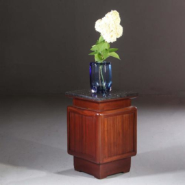Antieke kasten / Frans Art deco nachtkastje met lade en deurtje ca. 1920 bloemmahonie (No.155272)