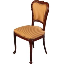 Antieke stoelen / Stel van 4 Hollandse Willem III stoelen met geel gestreepte stoffering op zitting en rug ca. 1870 mahonie  (No.541962)