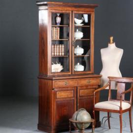 Antieke kasten / Engelse servieskast / boekenkast 1890 in palissander met veel inlegwerk (No.571033)
