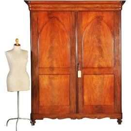 Antieke kasten / Hollandse laat biedermeier 2-deurskast ca. 1835 in fijne oude kleur (No.281364)