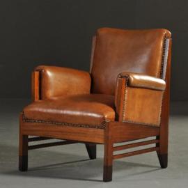 Antieke stoelen / Stel van 2 art deco fauteuils mahonie met leer ca. 1915 prachtig gerestaureerd (No.200844)