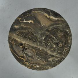 Antieke bijzettafels / Art Deco salontafel ca. 1925 in notenhout met grijs marmer (No.410521)