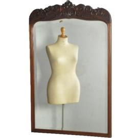 Antieke spiegels / Schouwspiegel mahonie lijst met facetgeslepen spiegel ca. 1900 (No.540346)