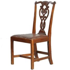 Antieke stoelen / Stel van 8 eetkamerstoelen ca. 1875 mahonie - met mooi oud chestnut leer (No-361125)