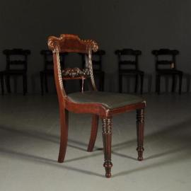 Antieke stoelen / Stel van 6 Vicoriaanse stoelen ca. 1850 mahonie - incl. bekleding naar keus (No-332031)