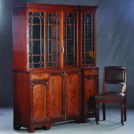 Antieke kasten / Kleine boekenkast ca. 1850 met 8 deuren inspringend breakfront (No-840303)