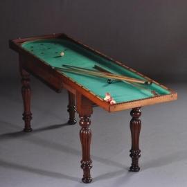 Antiek Varia / Bagatelle Victoriaans biljardspel op onderstel ca. 1875 inklapbaar tot sidetable (No.473290)