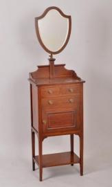 Antieke toilettafel / Gentlemens shaving stand mahonie met facet geslepen spiegel ca. 1885 (No86464)