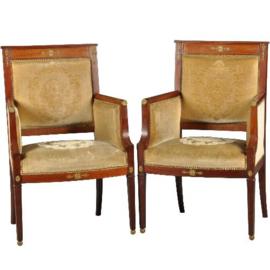 Antieke stoelen / stel van 2 Empire stijl  armstoelen periode seconde empire ca. 1860 in mahonie met brons (No.450222)