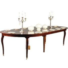 Antieke tafels / Ronde Hollandse mahonie coulissentafel ca. 1800 op tapse gebogen poot (No-341627)