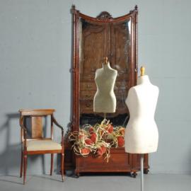 Antieke spiegels / reusachtige halspiegel met jardinière ca. 1875 Hollands mahonie (No.411569)