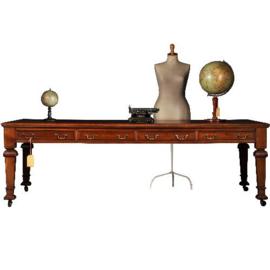 Antieke bureaus / Partner schrijftafel 2,44 m. lang met 8 laden ca. 1890 rood ingelegd (No.341623)