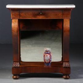 Antieke bijzettafels / Franse wandtafel of trumeau met lade en  wit marmer blad ca. 1840 mahonie (No.561253)