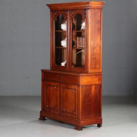Antieke kasten / Frans bibliotheekkast met schrijfklepje ca. 1880 mahonie (No.571032)