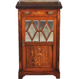 Antieke kasten / Engels palissander muziekkastje ca. 1875 met mooi inlegwerk (No.200267)