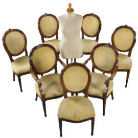 Antieke stoelen / stel van 8 antieke hollandse mahoniehouten stoelen ca. 1790 (No402556)