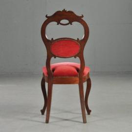 Antieke stoelen / Hoge uitbundige Koloniale Willem III stoel ca. 1875 met rood velours (No-331115)