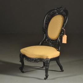 Antieke stoelen / Salonstoel in zwart gepolitoerd mahonie Willem III ca. 1875 (No.380960)