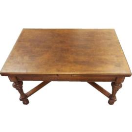 Antieke tafels / Doorleefde mechaniektafel 1890 - ritsrats klik - en deze tafel is ruim 4 m. (No.841036)