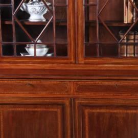 Antieke kasten / Engelse servieskast / boekenkast 1890 in mahonie met veel inlegwerk (No.592153)
