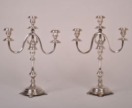 Antiek kandelaren / Stel Hollandse zilveren kandelaren 40cm hoog begin vorige eeuw (No98525)