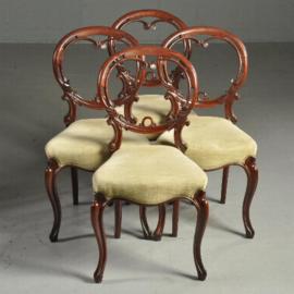 Antieke stoelen / Stel van 4 zeer fijn gestoken Victoriaanse stoelen ca. 1870 in lichte rib-velours (No.440312)
