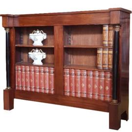 Antieke kasten / Kleine open boekenkast 2e empire  ca. 1860  mahonie met zwart (No.612242)