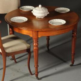 """Antieke tafels / Ronde Hollandse """"Horrix"""" tafel ca.1875 in mahonie  op 4 gedraaide poten (No. 520514)"""