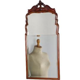 Antieke spiegels / Soester spiegel met kroon om belasting te besparen in twee delen spiegelglas gemaakt ca. 1800 (No.520604)