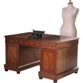 Antieke bureaus / Engels semi-partner bureau met 12 laden en 2 deuren ca. 1880 met bruin leer (No.592152)