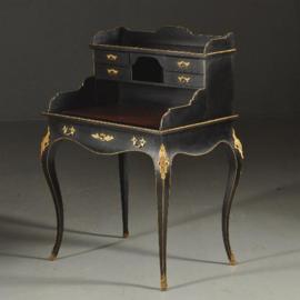 Antieke bureaus / klein damesbureau ca. 1875 zwart gepolitoerd mahonie (No.390657)
