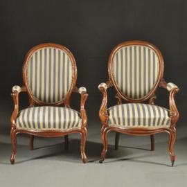 Antieke stoelen / Twee armstoelen Willem III ca. 1865 blauw/wit gestreept (No.380959)