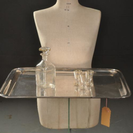 Antieke dienbladen / Groot strak en zwaar uitgevoerd Silver plated dienblad ca. 1910 (No.921732)