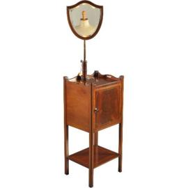 Antieke kasten / Gentlemens shavingstand / kaptafel in mahonie met inlegwerk spiegel verstelbaar (No.630831)