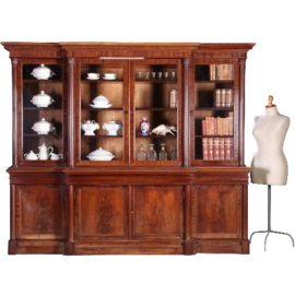 Antieke kasten / Victoriaanse breakfront bibliotheekkast mahonie ca. 1860 lager dan gebruikelijk (No.632016)
