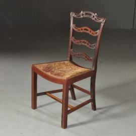 Antieke stoelen / stel van 8 mahonie laderbacks vm Norman & Stacey 1910 bekleding naar wens (No.481843)