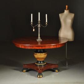 Antieke tafels / Ronde mahonie coulissentafel gepolychromeerd in goud en groen ca. 1820 (No-341625)
