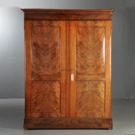 Antieke kasten / Hoge notariskast met rechte panelen ca. 1825 Hollands (No.271122)