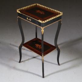 Antieke bijzettafels /  Etagère ca. 1900 in noten met ebben, mahonie  en brons (No.640858)