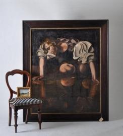 "Antiek Schilderij naar: ""Narcissus""  Caravaggio 1598/99  ca. 1900 in  Art Nouveau-stijl. (No9570)"