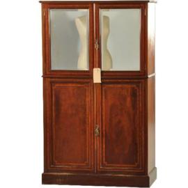 Antieke kasten / Mahonie cocktailbar jaren '50 met spiegel en binnenverlichting (No.200268)