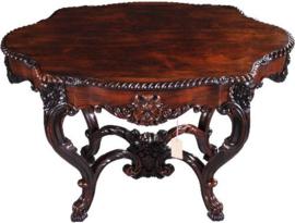 Antieke bijzettafels /  Uitzonderlijk fraaie Palissander tafel met lade ca. 1860 (No-902751)