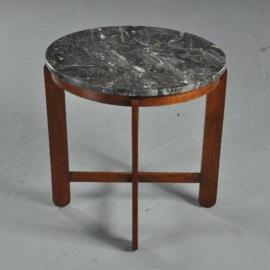 Antieke bijzettafels / Haagse School salontafel ca. 1925 in eiken met grijs marmer (No.410522)