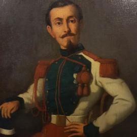 """Antiek varia  / Schilderij """"Militair met  Waterloo-medaille"""" olieverf in zwarte lijst (No.601046)"""