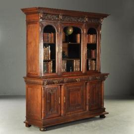 Antieke kasten / Holland neo-Renaiccense boekenkast, door Pander met Beethoven, Schiller, Wagner en Goethe. (No-160331)