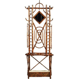 Antiek varia / Staande kapstok / Porte Manteau ca. 1900 in bamboe met kantelbare spiegel. (No.210873)