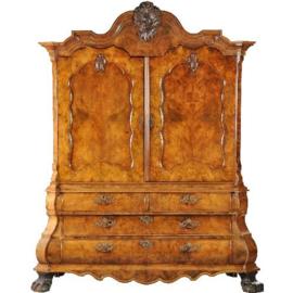 Antieke kasten / Dubbel gebogen kabinet ca. 1750 Hollands rococo in wortelnoten (No.281106)