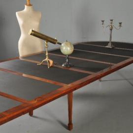 Antieke tafels / Zwart ingelegde Coulissentafel ca. 1790 eetkamertafel vergadertafel met 6 bladen tot 4,20 m. lang (No.393017)
