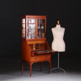 Antieke bureaus / Notenhouten secretaire ca. 1900 met 3-zijdig beglaasde vitrine (No.542447)