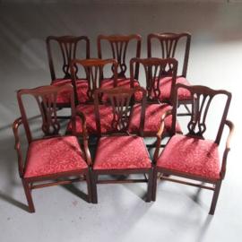 Stel van 8 solide massiefmahonie eetkamerstoelen ca. 1875, 2 met armleuningen (No.550747)